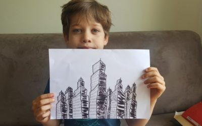 """Défi """"dessiner les gratte-ciel de New-York"""" en CE"""